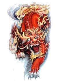 Эскиз тату японского льва