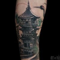 Японская пагода: эскиз тату