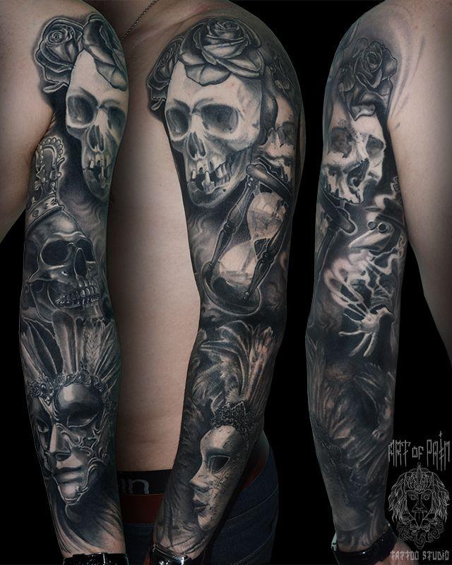Татуировка мужская Black&Grey рукав череп