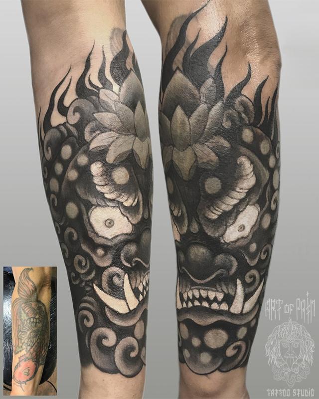 Татуировка мужская япония на предплечье демон кавер