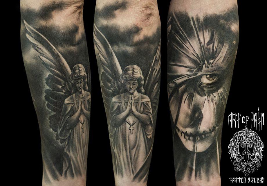 Татуировка мужская хорор на предплечье ангел