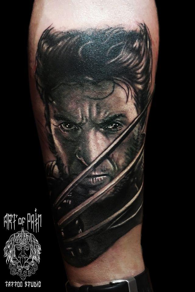 Татуировка мужская хорор на предплечье россомаха