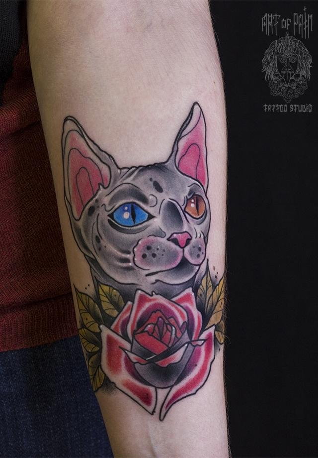 Татуировка женская нью-скул на предплечье котик и роза