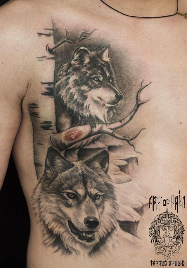 Татуировка мужская реализм на ребрах волк