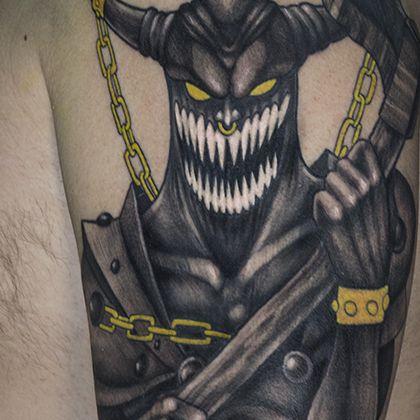 Татуировка мужская фентези на плече демон