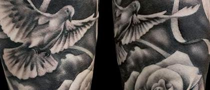 Татуировка мужская Black&Grey на предплечье голубь