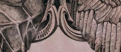 Татуировка мужская Black&Grey на спине крылья
