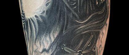 Татуировка мужская Black&Grey на предплечье смерть