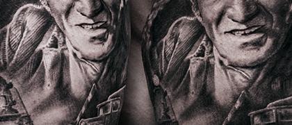 Татуировка мужская реализм на плече Джигарханян