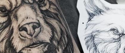 Татуировка мужская графика на ноге медведь