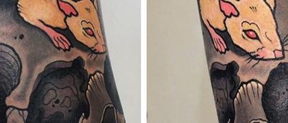 Татуировка мужская нью скул на предплечье череп и крыса