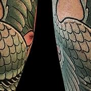 Татуировка мужская япония на голени журавль и сакура