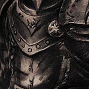 Татуировка мужская black&grey на плече рыцарь