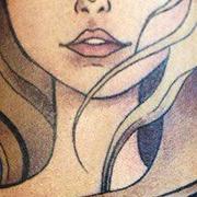 Татуировка женская акварель на предплечье девушка