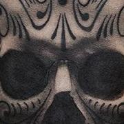 Татуировка мужская Black&Grey на предплечье череп