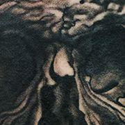 Татуировка мужская Black&Grey на руке череп