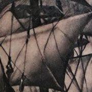 Татуировка мужская Black&Grey на икре корабль