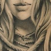 Татуировка мужская Black&Grey на предплечье портрет