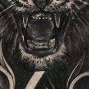 Татуировка мужская Black&Grey на предплечье тигр