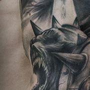 Татуировка мужская Black&Grey рукав воин
