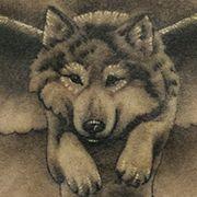 Татуировка женская Black&Grey на спине волк