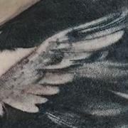 Татуировка мужская Black&Grey на лопатке ворон