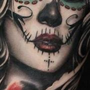 Татуировка мужская чикано на предплечье муэрте