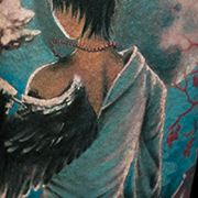 Татуировка женская фентези на предплечье ангел