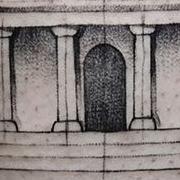 Татуировка мужская графика на предплечье архитектура