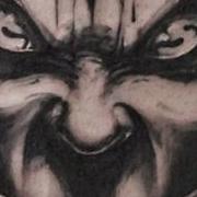 Татуировка мужская графика на предплечье дьявол