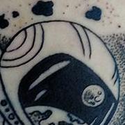 Татуировка мужская графика на предплечье космос