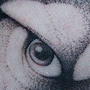 Татуировка мужская графика на предплечье волк