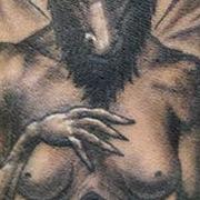 Татуировка мужская хорор на предплечье дьявол