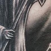 Татуировка мужская хорор на плече харон
