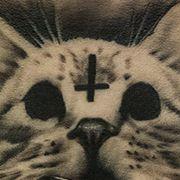 Татуировка женская хорор на спине кот