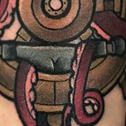 Татуировка мужская нью-скул на предплечье морская