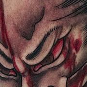 Татуировка мужская япония на голени мертвый самурай