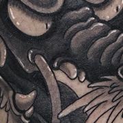 Татуировка мужская япония на голени дракон