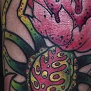 Татуировка женская нью-скул на предплечье паук-цветок