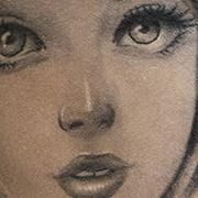 Татуировка женская black&grey на бедре анастасия