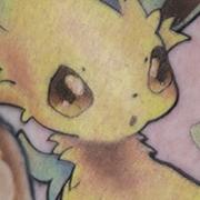 Татуировка женская нью скул на голени покемон