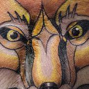 Татуировка мужская олд скул на кисти лиса