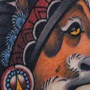 Татуировка женская олд скул на лопатке лиса