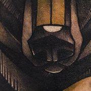Татуировка мужская олд скул на предплечье медведь