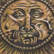 Татуировка мужская реализм на спине солнце