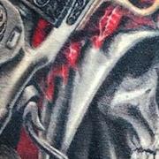 Татуировка мужская реализм на ребрах религиозная