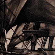 Татуировка мужская black&grey на плече корабль