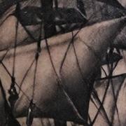 Татуировка мужская реализм на голени корабль