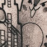 Татуировка женская графика на голени Котзилла