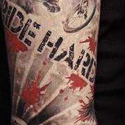 Татуировка мужская треш полька рукав череп